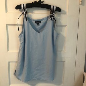 EUC Sky blue blouse with ribbon ties!